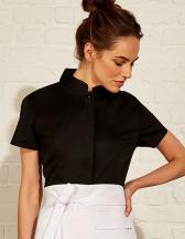 Womens Bar Shirt Mandarin Collar Short Sleeve
