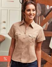 Ladies` Roll Short Sleeve Twill Shirt