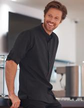 Mens Mandarin Shirt Roll Tab Sleeve